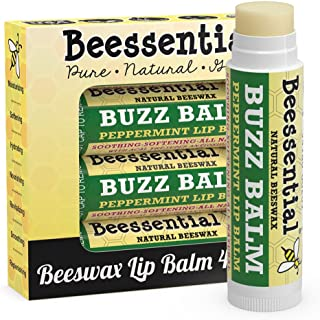 Beessential Buzz Beeswax Lip Balm, Peppermint, 4 Count