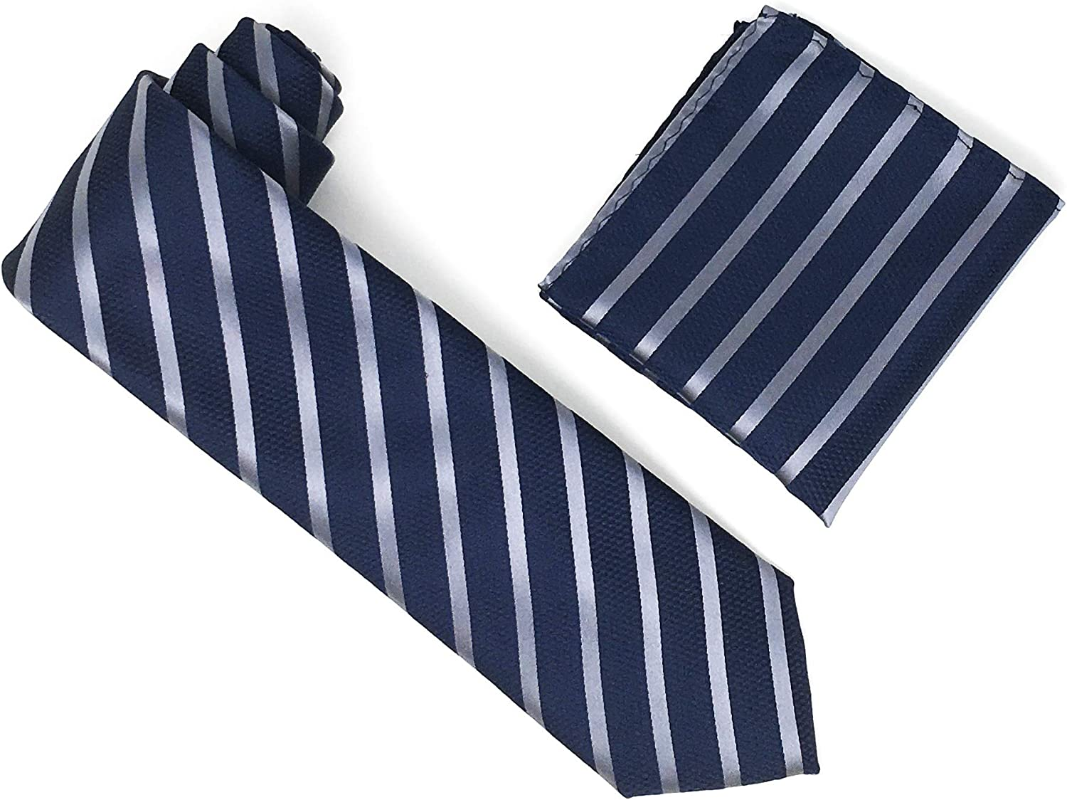 Navy & Grey Stripped 100% Silk Woven Necktie With Matching Pocket Square