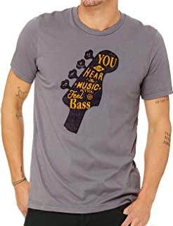 WUE Bass Guitar T Shirt Cool Life Quote Musician Tee Guitar Shirt You Can Hear The Music But You Feel The Bass - Gift for Men