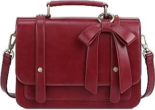 ECOSUSI Women's Small Vintage Vegan Leather Crossbody Satchel Bag with Detachable Bow