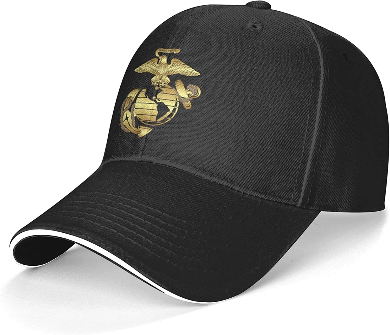 Gold Eagle Globe and Anchor EGA Unisex Adjustable Sandwich Baseball Cap, Hip Hop Baseball Cap, Dad Cap, Trucker Cap