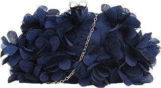 Milya Damen Clutch Blumen Elegante Brauttasche Hochzeit Party Kleidertasche Abendtasche Handtasche mit Kette Kiss Lock