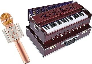 Makan Musicals Traveler/Portable/Folding Type, 9 Stops- 5 Main & 4 Drones, 3½ Octaves, Coupler, Dark Cherry Colour, Gig Bag, Bass-Male Reed -440Hz, Bhajan, Kirtan Hand Pumped Harmonium