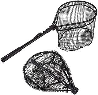 TONG JI Fishing Net, Fish Net Foldable Fish Landing Net Collapsible Pole Handle Durable Nylon Mesh Safe Fish Catching Landing nets for Fishing