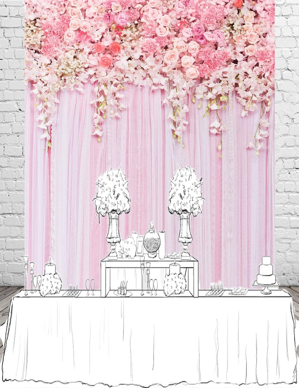 Muzi 5x7ft Pink Flower Wall Photography Backdrops Curtain Backdrop for Pictures Newborn Birthday Wedding Party Decoration D-9354