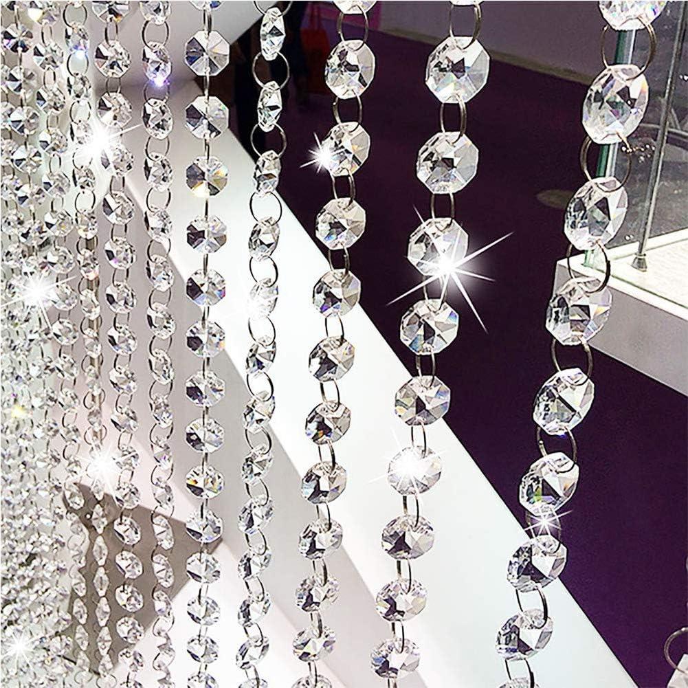 14MM SILVER GLASS CHANDELIER WEDDING CRYSTAL LAMP BEAD CHAIN PRISMS GARLAND