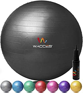 Wacces Professional Exercise, Stability and Yoga Ball for Fitness, Balance & Gym Workouts- Anti Burst - Quick Pump Included (Black, 75 cm)