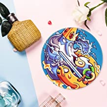 Coasters for Drinks, Finn And Jake Vs Ice King Cute Fashion Round Ceramic Cork Coaster for Kitchen&Home
