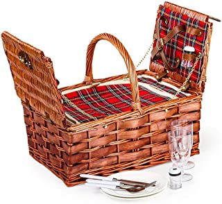 Lexi Home Wicker Picnic Basket for 2 or 4 | Picnic Set with Serveware | Picnic Kit with Reusable Plates, Cups, and Utensils | Picnic Gift Set (Red & Blue Plaid/2 Person)