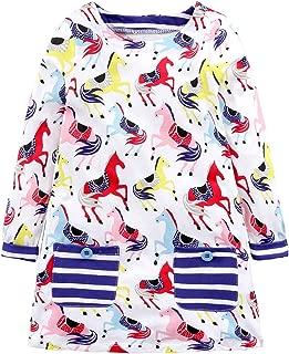 Áo quần dành cho bé gái – Little Girl T Shirt Dress – Cartoon Knit Tee Dresses with 2 Pockets
