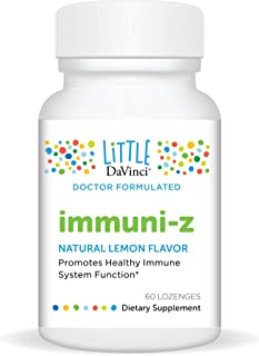Little DaVinci – immuni-Z, Zinc Throat Lozenge, Immunity Supplement for Kids, Lemon Flavor, No Added Sugars, 60 ct.