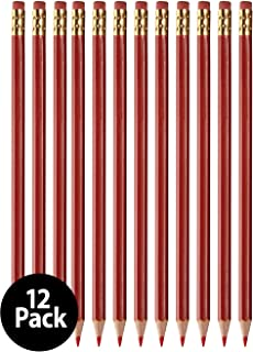 Grading Checking Erasable Pencils, Pre-Sharpened #2 HB Red Pencils, With Eraser Tops - 12-Pack