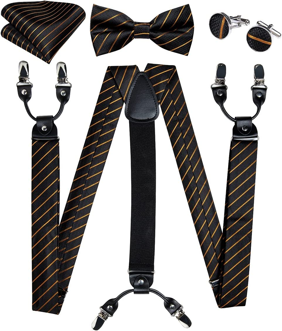 JJZXC 6 Clips Men's Suspenders Braces Wedding Party Silk Elastic Suspenders Bow Tie Set Trousers Strap (Color : A, Size : Adjustable)