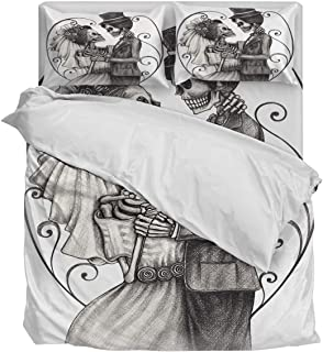 Lightweight Duvet Cover Set- Romantic Mr Mrs Couple Skull Skeleton Marriage Luxury Comfortable and Breathable Bedding Set Ultimate Soft 4 Pieces Bedding Collections Full