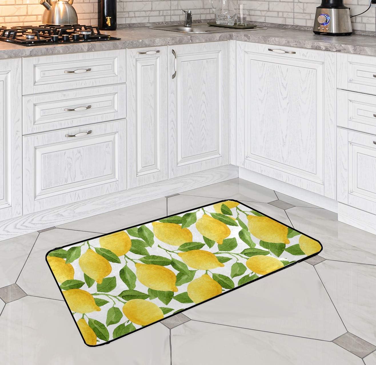 Lemon Bath Runner Rug Yellow Lime Tree Non Slip Area Mat Rugs for Bathroom  Kitchen Indoor Carpet Doormat Floor Dirt Trapper Mats Shoes Scraper 9