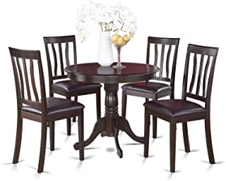 East West Furniture ANTI5-CAP-LC 5-Piece Kitchen Table Set, Cappuccino Finish, Leather Seat,