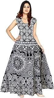 Indian 100% Cotton Vintage Block Print Long Mandala Dress for Women Black,White