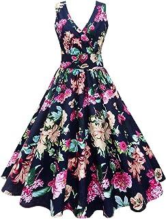 Roman Originals Noir Femme Imprimé Floral Robe Swing Tailles 10-20