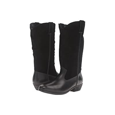 SoftWalk Rock Creek Wide Calf (Black Smooth Leather/Cow Suede) Women
