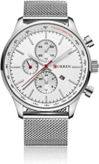CURREN Men's Wrist Watches Business Quartz WristWatch 3ATM Daily Water-resistant ristwatch Black/Silver/Gold Silver-White