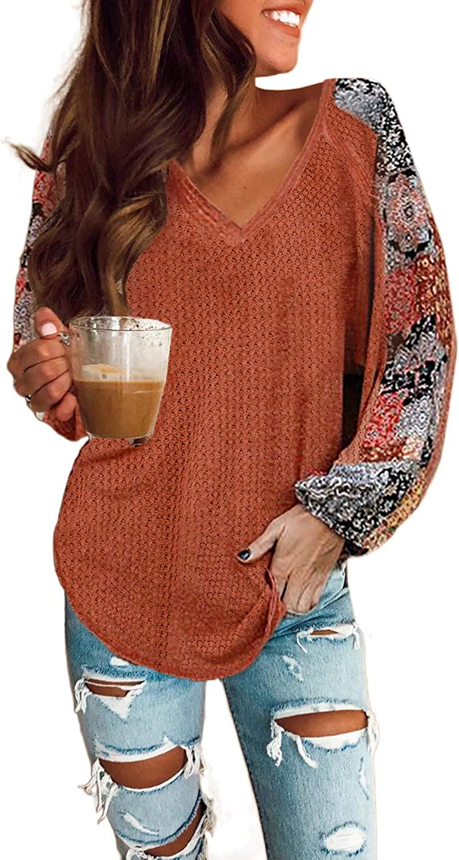 AZOKOE Women Off Shoulder Long Balloon Waffle Knit Sweaters Loose Oversized Pullover Jumper