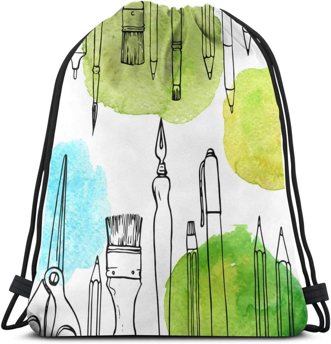 Background With Art Materials Spo Multicolor Free shipping New Drawstring Backpack Ranking TOP13