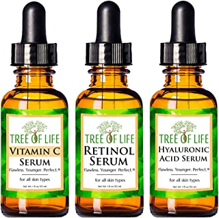 Anti Aging Serum 3-Pack for Face – Vitamin C Serum, Retinol Serum, Hyaluronic Acid..