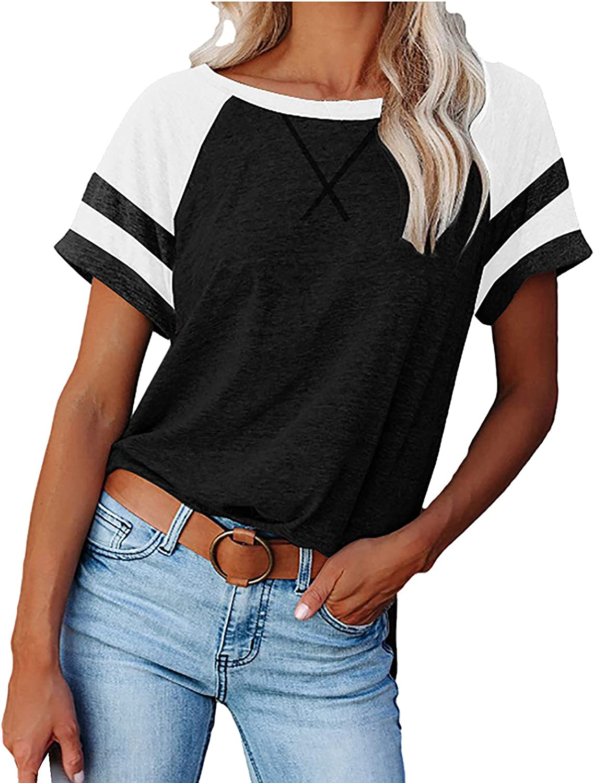 Womens Tops Summer Fashion Striped Raglan Short Sleeve T-Shirt Round Neck Tunic Casual Baseball Tee Tops