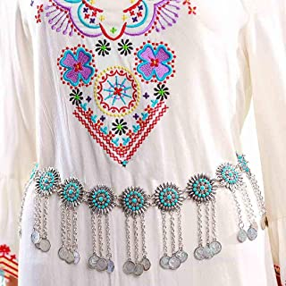 Zoestar Boho Turquoise Waist Chains Tassel Coin and Sun Flowers Waist Belly Chain Jewelry for Women