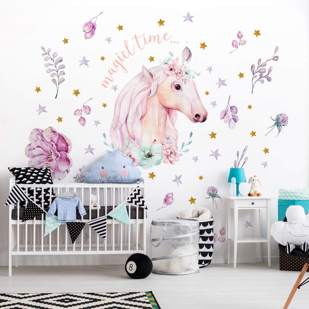 Unicorn Wall Stickers Removable Unicorn Wall Decals Decor Wall Poster for Gilrs Kids Bedroom Nursery Birthday Party Favor