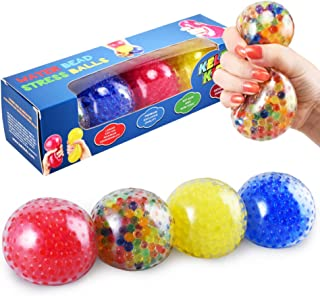 KELZ KIDZ Durable Large Squishy Water Bead Stress Balls (4 Pack) - Great Sensory Toy for Anxiety Relief for Children and A...