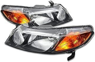 For Honda Civic Sedan Pair of Black Housing Amber Corner Headlight - 8th Gen