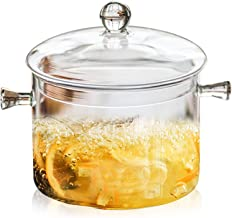 Jucoan 1.5L/50oz Glass Saucepan with Cover, Heat Resistant Glass Stovetop Cooking Pot with Lids for Pasta Noodle, Soup, Mi...