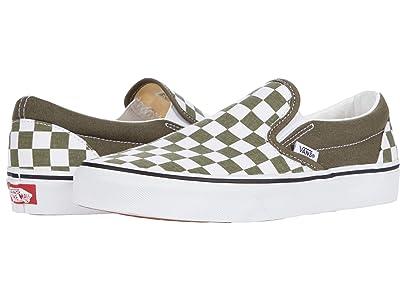 Vans Classic Slip-On ((Checkerboard) Grape Leaf/True White) Skate Shoes