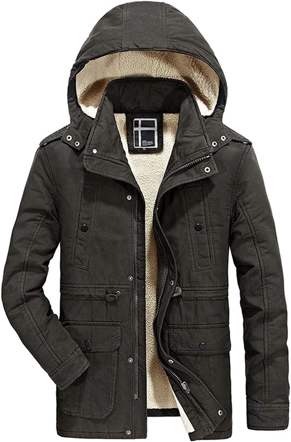 Itemnew Man's Thermal Sherpa Max 53% OFF Lined A surprise price is realized Hood Multi Pockets Detachable