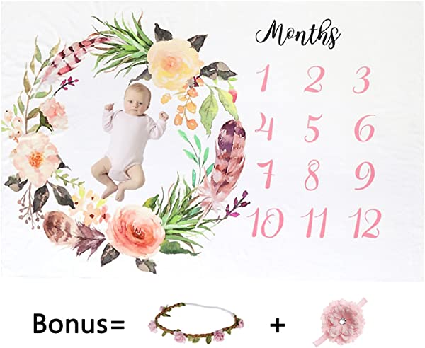 Milestone Blanket Baby Blankets For Girls Newborn Photography Props Baby Girl Gifts Headband And Frame Included Reuseable Premium Fleece Baby Monthly Milestone Blanket Shower Gifts