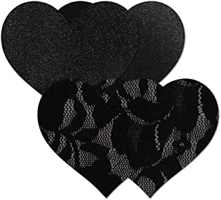 NIPPIES Black Heart Waterproof Adhesive Fabric Nipple Cover Pasties (Small)