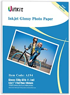 "Glossy Photo Paper 11.1mil 230g Uinkit Inkjet Paper for Inkjet Printer Only (8.5""x11""x100)"