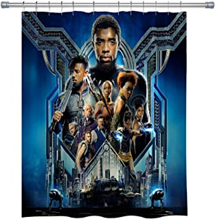 Marvel Series Movies Shower Curtain,Black Panther Superhero Waterproof Polyester Fabric Shower Curtain for Bathroom, Bathroom Accessories with Hooks, 71X 71 in