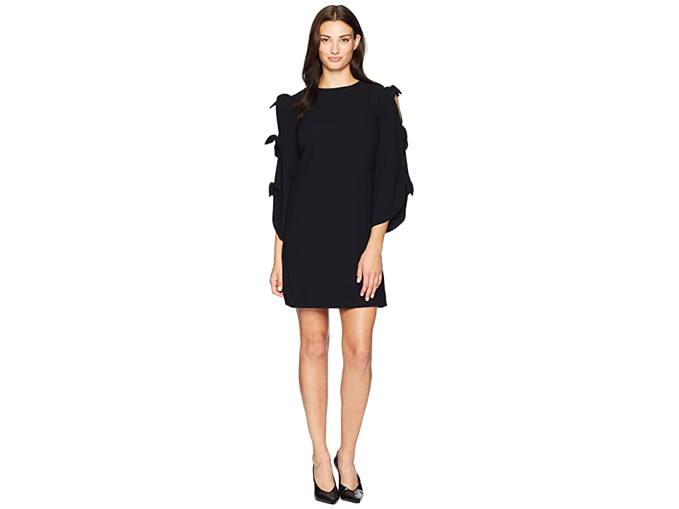 Tahari by ASL Long Sleeve with Ties Shift Dress (Black) Women