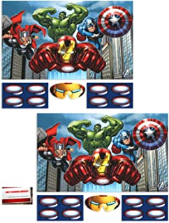 (2 Pack) Marvel Avengers Pin The Arc on Ironman Game (Plus Party Planning Checklist by Mikes Super Store)