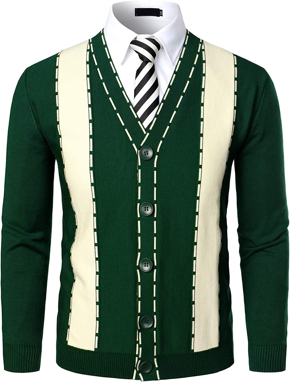 VATPAVE Mens V-Neck Slim Fit Cardigan Sweater Pattened Button Down Casual Knitted Sweater