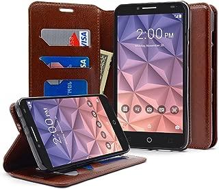 Alcatel Pixi Eclipse Case, NageBee - Flip Premium PU Leather Fold Wallet Pouch Case for Alcatel Onetouch Pixi Eclipse (Fold Brown)
