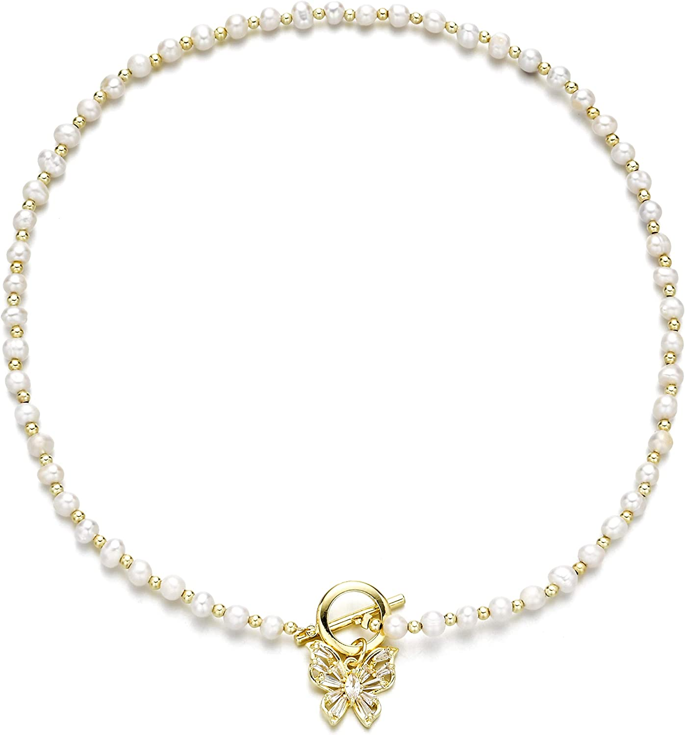 WWBGINF Butterfly Price reduction Choker 14K Gold Zirconia with Pendants Plated Latest item