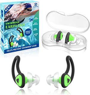 2 Pairs Swimmer Ear Plugs Adults, Hearprotek Upgraded Silicone Custom-fit Water Protection Swimming earplugs for Swimmers ...