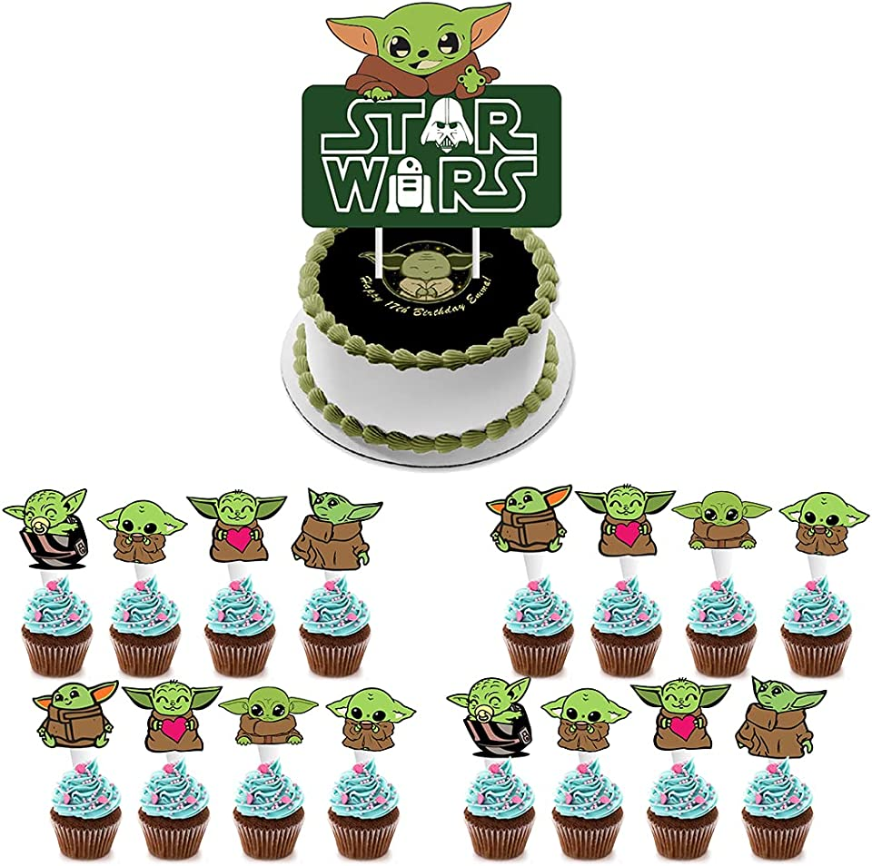 25 Pcs Cute Baby Yoda Cupcake Topper for Space Wars Theme Cake Decorations for Birthday Party Decoration Baby Shower Party Supplies