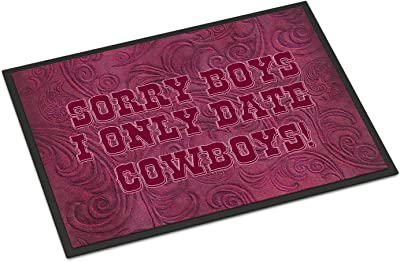 """Caroline's Treasures Sorry Boys I Only Date Cowboys in Pink Indoor or Outdoor Mat, 18"""" x 27"""", Multicolor"""