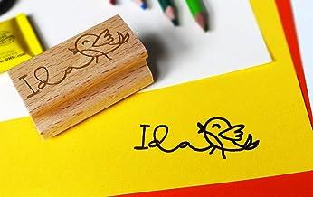 Kinderstempel mit Name und kleinem Vogel, Namensstempel, Kind, Name, Vorschulkind, Einschulung, Kindergartenkind, Schultüte, Einschulungsgeschenk