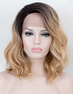 Persephone Ombre Blonde Lace Front Wig 2 Tones Short Wavy Bob Wigs Synthetic with Dark Roots