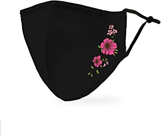 Weddingstar Washable Cloth Face Mask Reusable and Adjustable Protective Fabric Face Cover w/Dust Filter Pocket - Simple Fl...